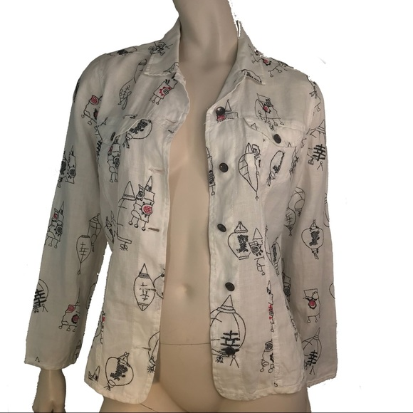 7ebc32608 Chico's 0 Linen Embroidered Jacket White Black Red